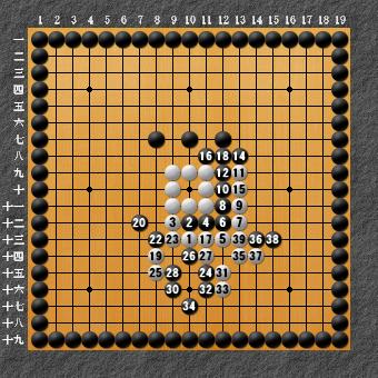 19路詰碁 問題1 超手順明示用